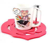 Wholesale Tea Creative Household Supplies Rose Glass Coasters Cute Coaster Cup Mat Free EMS L196