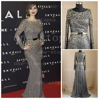Wholesale 2014 Hot Real Image Elie Saab Evening Dresses Jewel Neckline Long Sleeves Grey Sequin Lace Crystal Beading Sash Sheath Formal Prom Gown