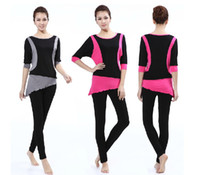 Wholesale EMS Bias Cut Lady Yoga Clothes Set Viscose Dancing Dress Fitness Clothes colors S XXL suits