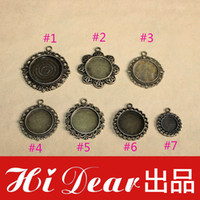 Wholesale Round Tray Pendants Inner mm Alloy Metal Antique Bronze Plated Blank Pendant Bases Cameo Settings Cabochons Base DIY Accessories