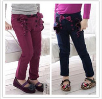 Wholesale 2013 autumn wear double breasted han edition children s wear girls lace bowknot basic pants