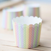 Wholesale RAINBOW dots bulk High temperature baking greaseproof paper muffin cupcake liners cases wrappers