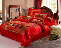 Wholesale QWE Cotton Jacquard bedding set happy wedding style cotton four colors bedding sets