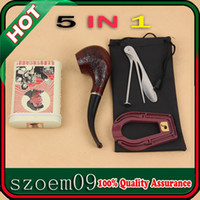 Wholesale 5 in Flower Pattern Classic Wooden Cigar Cigarette Smoking Pipe Kit W Cool Case Box Tin Pipe Cleaning Tool Stand Pouch