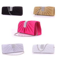 Wholesale Womens Satin Diamante Ladies Pleated Wedding Bridal Evening Handbag Clutch Bag