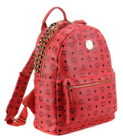 Women MCM logo and prismatic PU Red Designer Bags MCM Backpack Style Bags Rivets Design Zipper Bags Soft PU Leather Girls Outdoor Travelling Bags MCM Logo Fashion Bags