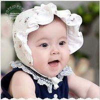 Wholesale Sun Hats Newborn Baby Flower Lace Bowknot Summer Hat Girl Boy Polka Pop Kids Infant Basin Hats Caps Kids Hair Accessory Gifts BB48