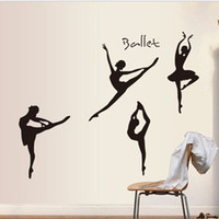 Wholesale Black Dancing Ballet Girls Wall Sticker PVC Art Ballet Wall Decals Kids Room Vinyl stickers