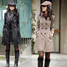Wholesale New Fashion Women Slim Fit Double breasted trench Coat Outwear Jacket