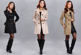 Wholesale New Fashion Women Slim Fit Double breasted trench Coat Outwear
