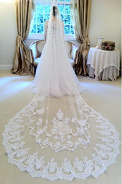 Wholesale Vintage White Ivory Short Tulle Wedding Bridal Veil Cathedral Length One Layer Applique Lace