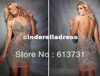 Reference Images V-Neck Chiffon Wholesale - 2012 Short Cocktail dresses Sexy Halter Beaded Crystals Sequins Nude color Party Dresses For Women TS21230