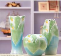 Ceramic vase ceramic - Home Decoration Vase Three piece Vase Ceramic Vase Calla Modern Vase Table Vase Hand Carved Vases