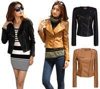 Women PU Leather Waist_Length Autumn Winter Women Ladies Slim Biker Leather Jacket Coat Plus Size Zip