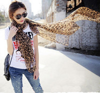 Wholesale Chiffon silk scarves new autumn winter women leopard grain super long brown decorated shawls designer scarf