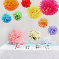 Wholesale Freen Shipping Mix Sizes Colors Tissue Paper Pom Poms Flower Balls Wedding Party Decor Craft Shower Decoration