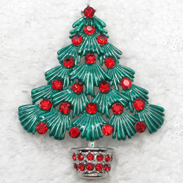 12pcs lot Wholesale Crystal Rhinestone Enameling Christmas tree Fashion Costume pin brooch Jewelry gift brooches C504