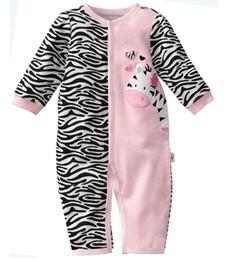 Wholesale Primeros momentos al por menor mamelucos cebra bebé bebé de la muchacha pijamas ropa de bebé recién nacido ropa de noche los monos de una sola pieza del mameluco W121