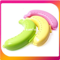 Plastic Food Eco Friendly (Free Shipping CPAM) 10PCS LOT Cute Banana Fruit Protector Guard Container Storage Case Bins Box H-104A