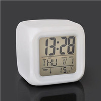 Wholesale Freeshipping pieces Glowing Led Color Change Digital Alarm Clock
