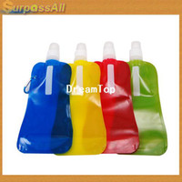 Wholesale CPAM ml Reusable Foldable Water Drink Bottle with Carabiner Clip Sports amp Running H A