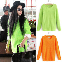 Wholesale Women Lady Girl Round Neck Fluorescent Color Knitted Pullover Jumper Sweater Knitwear Long Sleeve Sweater