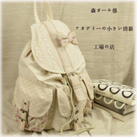 Wholesale Luxury Japanese Lace Hiking Backpack Fashion Designer Floral Printing Knapsack High Quality Cotton Bow Rucksack
