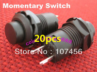 Push Button Switches   Free shipping 20pcs Black Momentary OFF-(ON) N O Push Button Car Boat Switch 12mm Normally OFF
