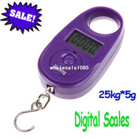 Pocket Scale <50g 25kg 25kg 5g 25kg*5g Mini Purple Display Hanging Luggage Fishing Weighing Digital Scale KG LB, free drop drop