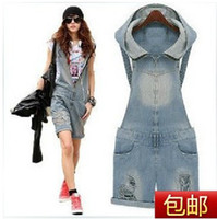 Wholesale New Fashion Women Girsl Jeans Denim Zipper Hoode Hole Jumpsuit Romper Overall Short Casual jumpsuits cowboy shorts