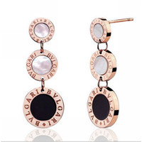 Wholesale Fashion Rose Gold L Stainless Steel Black White Shell Stud Clip Hoop Drop Earrings