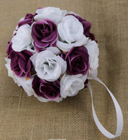 Wholesale MIC quot or quot Dark Purple White Two Colors Silk Rose Kissing Ball Pomander Flowers Ball Wedding Party Supplies Wedding Bouquet