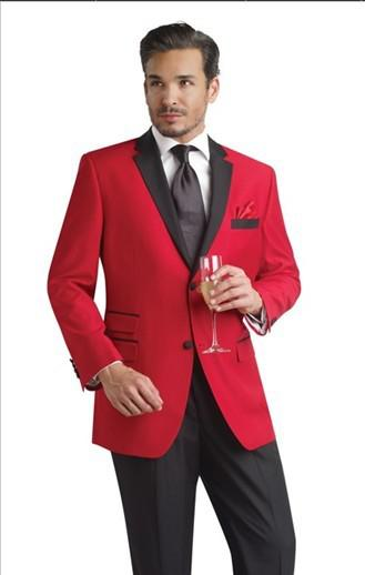 Custom Made Red Jacket Black Pants Groom Tuxedos Groomsmen Men's ...