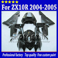 For Kawasaki aftermarket body kits - 7 Gifts fairings body kit for Kawasaki Ninja ZX R ZX10R ZX R all glossy black aftermarket fairing sw19