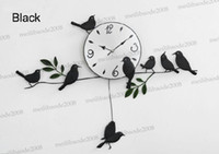 Wholesale Strong packing Mute Quartz Little Bird Wall Clock Home Decorative Craft three color black white red MYY5229