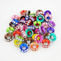 Wholesale EMS Hot mm CZ Crystal Rondelle Metal Big Hole Spacer Beads Mix Colors