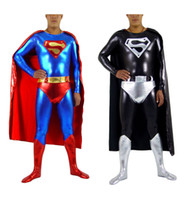Wholesale Adult Superman Costume Skintight Lycra Superman Bodysuit with Cape amp Underwear