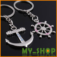 Wholesale High Quality Keychain Couple Key Chain Rudder Anchor Keychains Keychains81