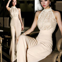 Wholesale New Korean style Women Jumpsuits High End Custom Sleeveless Neckline Pearl Lace jumpsuit Wide legged Slim Long Pants P0029