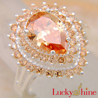 Wholesale Bridal Jewelry Elegant Wedding Engagement Betrothal Rings Orange Zircon Rings R0306