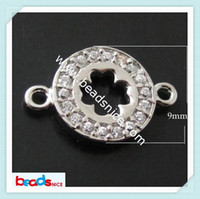 0.9 cm bracelet connectors - Beadsnice ID jewelry connector for bracelet making sterling silver diy jewelry four leaf clover connectors micro pave rhinestone