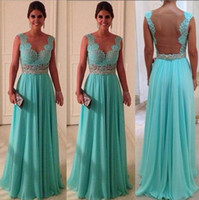 Wholesale 2015 Sexy Fashion See Through V Neck Lace Straps Evening Dresses With Glitter Crystal Around Waist Naked Back Prom Dresses Formal Gowns