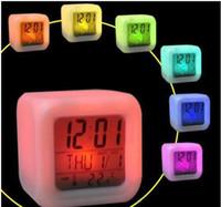 Digital baby alarm clock - Cheap Colorful Changed LED Digital Alarm Clock Calendar Temperature Desk Clock for Baby Toys Favor