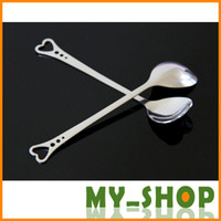 Wholesale Lovers Heart Shaped Love coffee tea measuring Spoon Wedding lover Favors stainless steel dinner tableware in1 coffee Spoon JJ0118