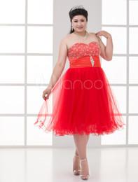 Wholesale A line Red Net Beading Sweetheart Women s Plus Size Prom Dress