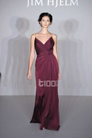 Wholesale 2014 New arrival Spaghetti Strap deep Wine red Grape Ruffle floor length fashion bridesmaid dress evening dress prom dress bridal dresses
