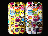 Wholesale Cartoon Owl Hard Plastic Cell Phone Case Cover for Samsung Galaxy S3 S III i9300 colorful skin back cases