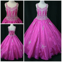Cheap Fairytale Beaded Patterns On Bodice Little Rosie Pageant Dress For Girls Fuchsia Sheer Overlay Girls Pageant Dress Gowns LR855