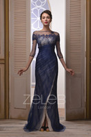 Zipper Sheath/Column Classic 2014 Fabulous Dark Red Dark Blue Red Crew 3 4Long Sleeve Sheath Floor-Length Lace Prom Gowns Evening Dresses