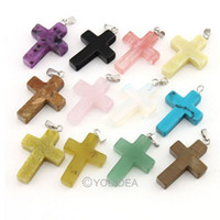 Wholesale 20pcs Cross Shaped natural stone pendants mixed Colorful crystal Charms fit necklaces genuine jewelry diy